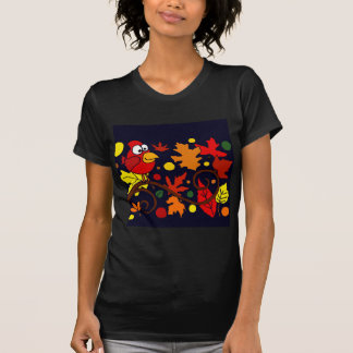 Red Cardinal Bird and Autumn Leaves Abstract Art Tee Shirts