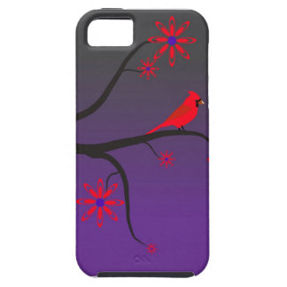 Red Cardinal bird in a tree on purple background iPhone 5 Cases