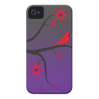 Red Cardinal bird in a tree on purple background. iPhone 4 Covers