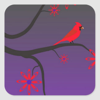 Red Cardinal bird in a tree on purple background. Square Sticker
