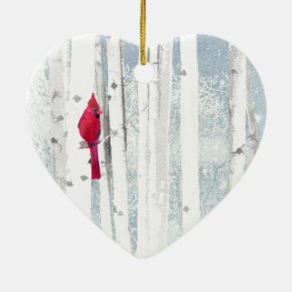 Red Cardinal Bird in beautiful snowy Birch Tree Christmas Ornament