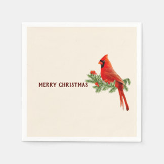 Red Cardinal Bird Merry Christmas Paper Napkin