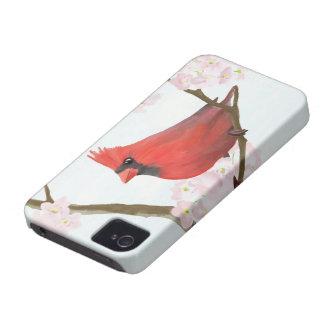 Red Cardinal Bird on a Cherry Blossom Tree iPhone 4 Cover