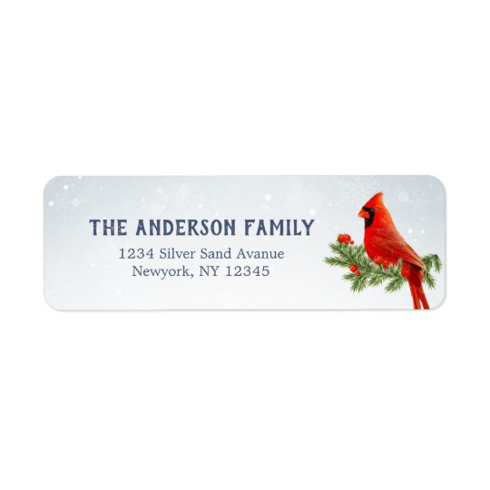 Red Cardinal Bird Return Address Labels
