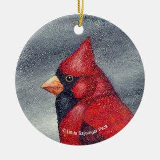 Red Cardinal Bird Round Ceramic Decoration