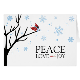 Red Cardinal Bird Winter Snowflake | Holiday Card