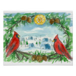 Red Cardinal Birds Winter Snow Village Painting Poster