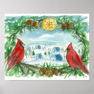 Red Cardinal Birds Winter Snow Village Painting Poster