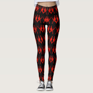 Red Cardinal Chevron Patterned Leggings