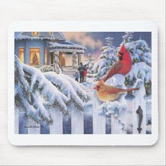 Red Cardinal Christmas Mousepads