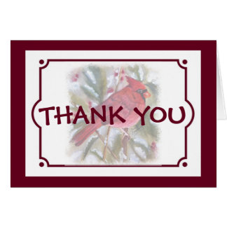 RED CARDINAL CHRISTMAS THANK YOU CARD