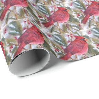 Red Cardinal Christmas Wrapping Paper