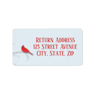 Red Cardinal Holiday Mailing Label