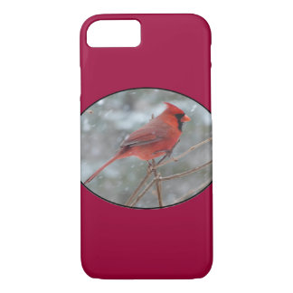 Red cardinal in Winter iPhone 7 Case