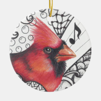 Red Cardinal in Zentangle print Round Ceramic Ornament