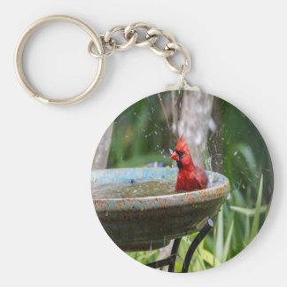 red cardinal key ring
