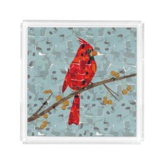 Red Cardinal Mosaic Acrylic Tray
