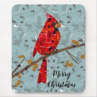Red Cardinal Mosaic Mouse Mat