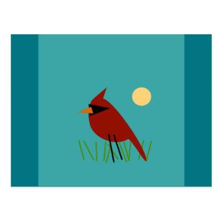 Red Cardinal on Grass Postcard