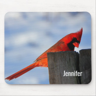 Red Cardinal on Wooden Stump Personalized Mouse Mat