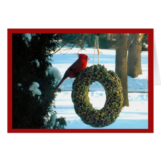 Red Cardinal on Wreath Card blank