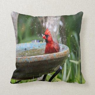 red cardinal throw pillow