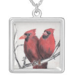 Red cardinals - hand drawn personalized necklace