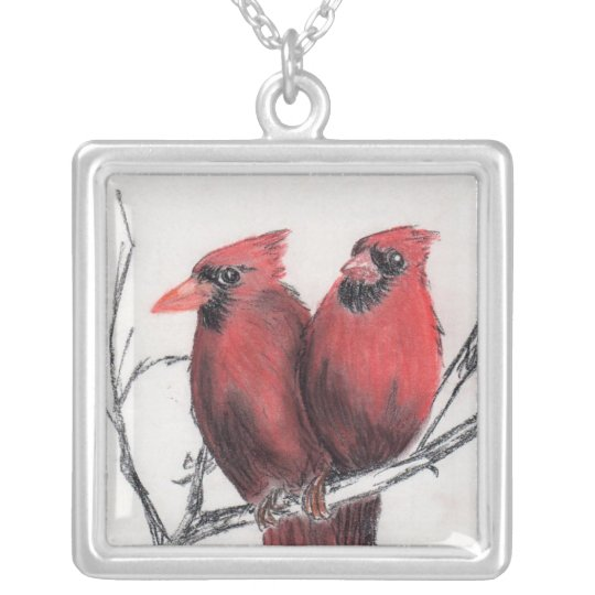 Red cardinals - hand drawn silver plated necklace