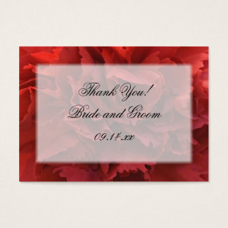 Red Carnation Floral Thank You Wedding Favor Tags Business Card