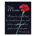 red carnation Mother's Day bible verse Proverbs