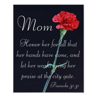 red carnation Mother's Day bible verse Proverbs Poster