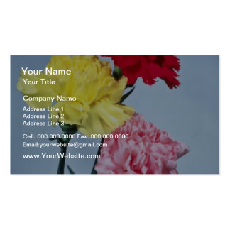 Red Carnation study on white flowers Business Card Templates