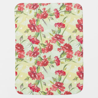 Red Carnations on green with butterflies Baby Blanket