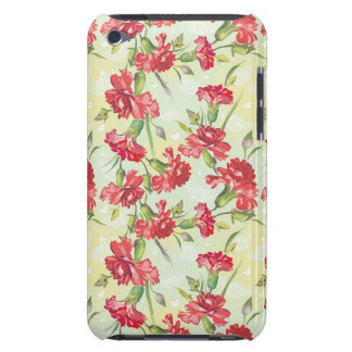 Red Carnations on green with butterflies Barely There iPod Cover