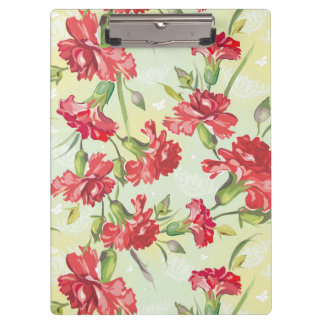 Red Carnations on green with butterflies Clipboard