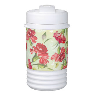 Red Carnations on green with butterflies Drinks Cooler