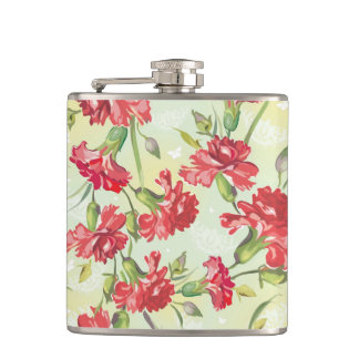 Red Carnations on green with butterflies Hip Flask