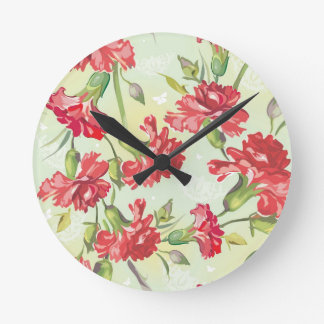 Red Carnations on green with butterflies Round Clock