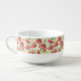 Red Carnations on green with butterflies Soup Mug