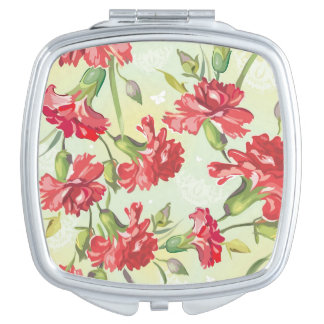 Red Carnations on green with butterflies Vanity Mirrors