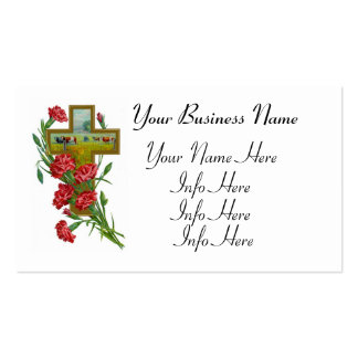 Red Carnations With Cross Pack Of Standard Business Cards