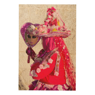 Red Carnival Costume, Venice Wood Print