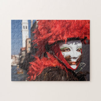 Red carnival mask in Venice, Italy Jigsaw Puzzle