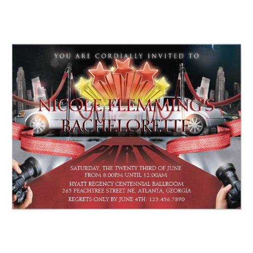 Red Carpet Bachelorette Party Invitation