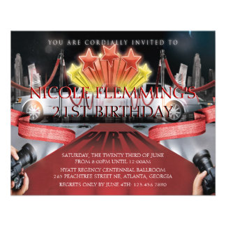 Red Carpet Birthday Invitation Personalized Flyer