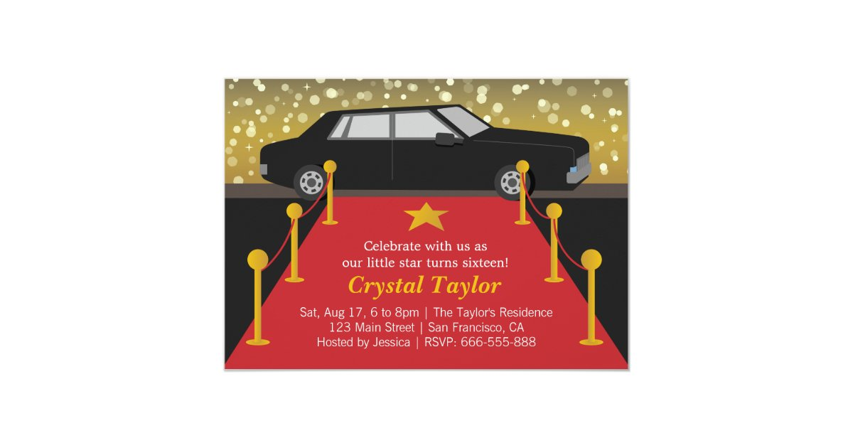 Red Carpet Glam Hollywood Party Girl Birthday Card | Zazzle.co.uk