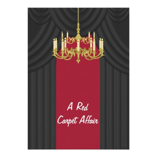 Red Carpet Gold Chandelier Prom Invitations
