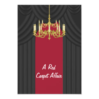 "Red Carpet Gold Chandelier Prom Invitations 5"" X 7"" Invitation Card"