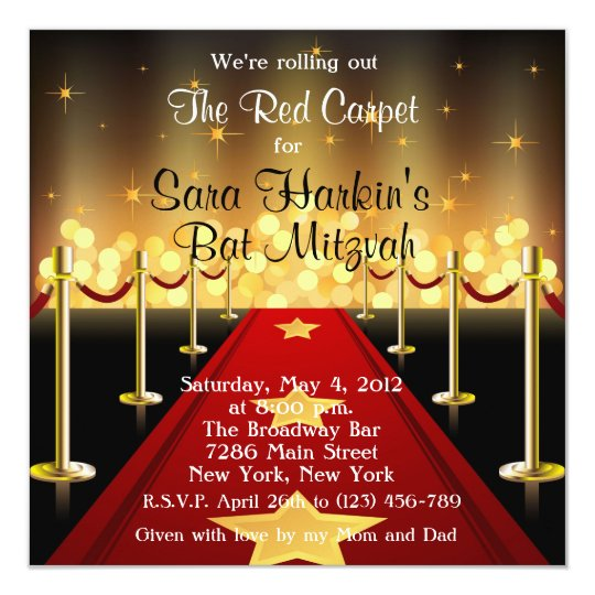 Red Carpet Hollywood Bat Mitzvah Birthday Invite