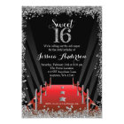 Red Carpet Hollywood Silver Glitter Sweet 16 Card
